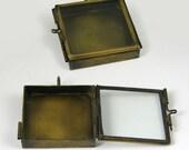 2 Our Glass Locket Shadow Box Square Pendant Vintage Brass Pendants, G2338.95