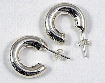 Sterling silver puff hoop pierced earrings