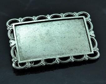 2 Bezel Blank Belt Buckles, Vintage Silver, Victorian Lace, BU113AS