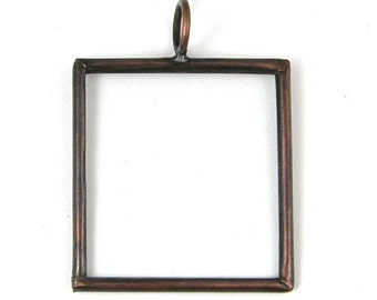 12 Glass Frame Pendants, Square, Antique Copper or silver, G2048