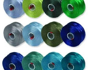 S-Lon Bead Thread, Blue, Turquoise, Lime Green, 12 colors, C1071