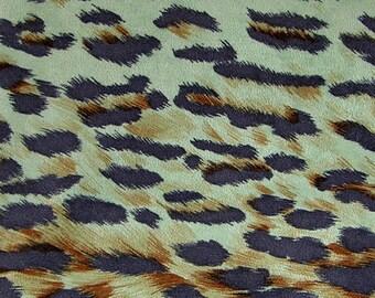 Fabric Cheetah Leopard Jaguar Animal Turquoise Sueded, 5 yards