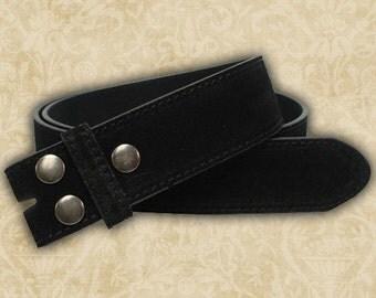 1 Belt Strap, Black or Brown Suede Snap Keeper Belt for interchangeable buckles