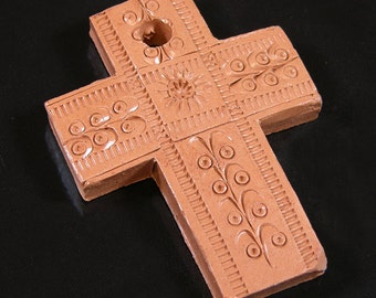 Terra Cotta Clay Crosses, 3 handmade