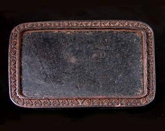 Belt Buckle Base, Rectangle Vintage Copper, Made in USA, BU112RU