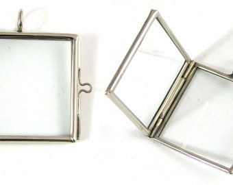 12 Glass Lockets, Square Frame Pendants, Silver finish  G2051