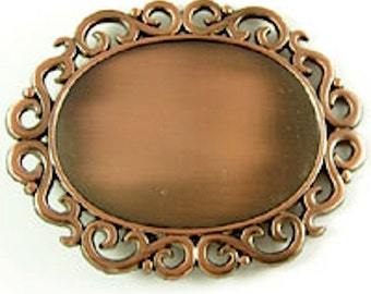 2 Belt Buckle Blank Bases, Copper Oval Scrolled, G377ABC