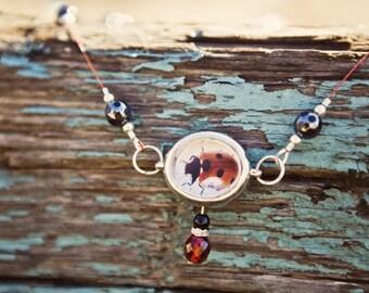 Ladybug Spring Collage Necklace