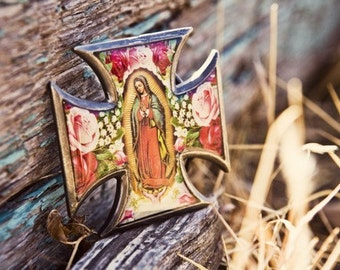 The Virgin of Guadalupe Cross Buckle with distressed leather belt.