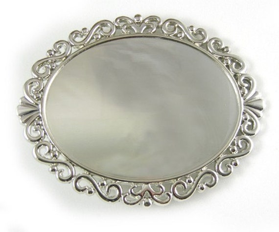 2 Belt Buckle Blank Bases, Silver Oval Scrolled, G375