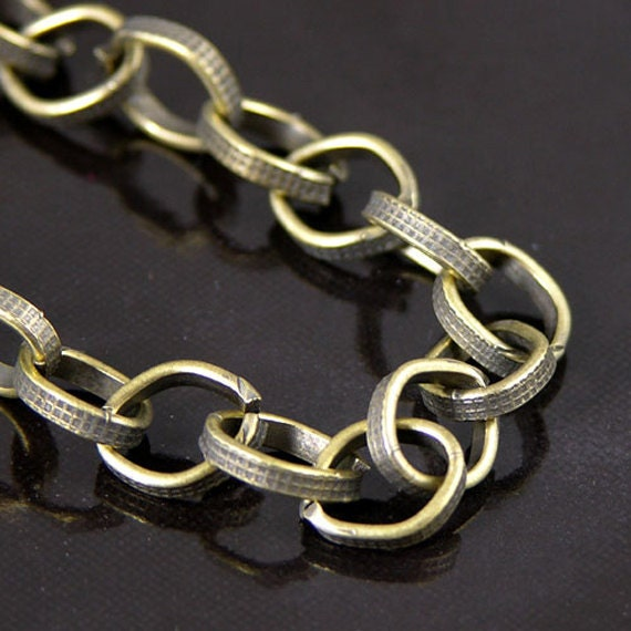 """3 Chain Necklaces with lobster clasps, 4mm Vintage Brass Rolo Belcher link, C669BR/24"""""""