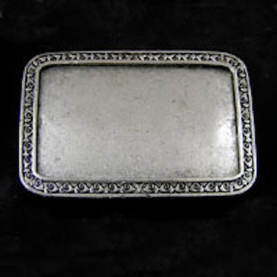 3 Belt Buckle Bases, Rectangle Vintage Silver, Made in USA, BU112AS