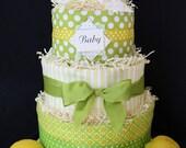 Four-Tier Lemon Drops Diaper Cake...Four Custom Burp Cloths
