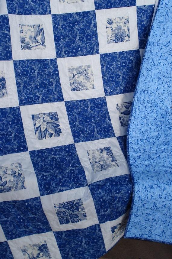 Lap Quilt Winter Blues On Blue