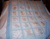 Handmade Baby Precious Moments Boys Blue Alphabet Baby/Toddler Quilt-Newly Made 2016