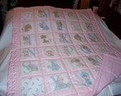 Handmade Baby Precious Moments Girls Pink Alphabet Baby/Toddler Quilt-Newly Made 2016
