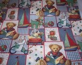 Baby Blue Jean Teddy Cotton Fabric BTY -NEW