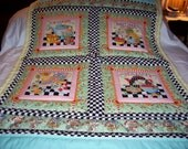 Handmade Baby/Senior Lap Mary Engelbreit DAY DREAMS Cotton Quilt-Newly Made 2016