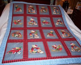 Handmade Baby Blue Jean Teddy Christmas Scenes Cotton Baby/Toddler Quilt-NEWly Made 2015