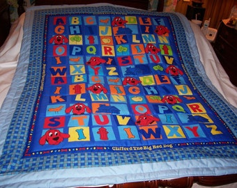 Handmade Baby Clifford The Big Red Dog Alphabet Baby/Toddler Quilt-NEWLY Made 2017