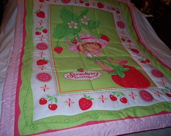Handmade Baby Strawberry Shortcake Cotton Baby/Toddler Quilt-Newly Made 2015