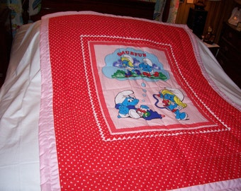 Handmade Baby Smurf  Cotton Baby/Toddler Quilt-NEWLY MADE 2017