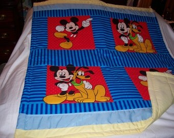 Baby Mickey Mouse And Pluto Cotton Baby/Toddler Quilt-NEWLY MADE 2017