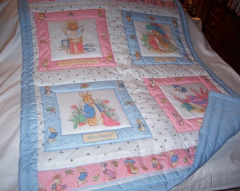 Handmade Beatrix Potter and Peter Rabbit Baby/Toddler Quilt-Newly Made in 2016