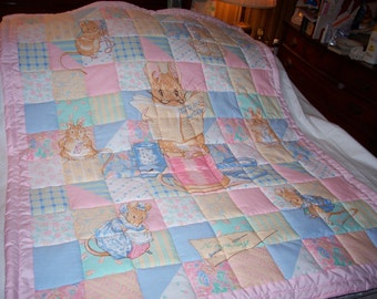 Handmade Baby Beatrix Potter Characters The Tailor Cotton Baby/Toddler Quilt-NEWLY MADE