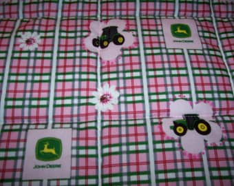 Handmade Baby John Deere Tractors Girl Cotton Baby/Toddler Quilt-NEWLY MADE