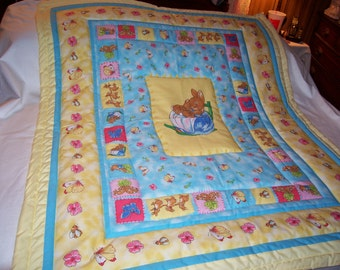 Handmade Baby Peter Rabbit & Mother Rabbit Cotton Baby/Toddler Quilt-Newly Made 2017