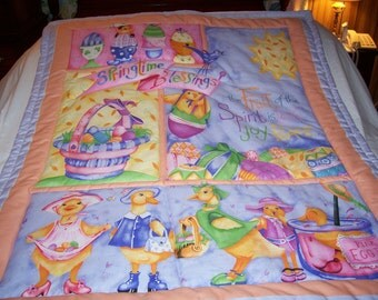 Handmade Baby Beautiful, Bright Springtime Cotton Baby/Toddler Quilt - Newly Made  2017
