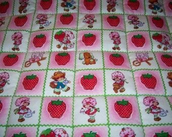 Handmade Baby Strawberry Shortcake And Huckleberry Pie Brushed Cotton Baby/Toddler Quilt- Made 2016