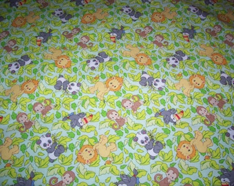 Baby Precious Moments 2007 Jungle Animals Coordinating Baby Quilt Fabric BTY-NEW