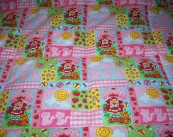 Handmade Baby Strawberry Shortcake Patchwork Flannel Baby/Toddler Quilt-Newly Made 2017