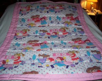 Handmade Cabbage Patch Kids Playing With Dollhouses Baby/Toddler Quilt -NEWLY MADE 2016