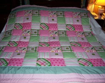 Handmade Baby John Deere Girl's Madras Plaid And Flowers Cotton Baby/Toddler Quilt- Newly Made 2016