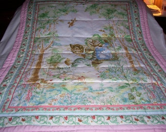 Handmade Beatrix Potter 3 Kittens Cotton Baby/Toddler Quilt-Newly Made