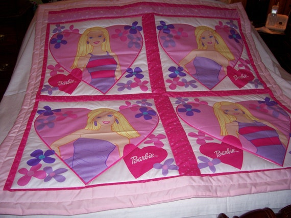 Handmade Baby Vintage Barbie Cotton Baby/Toddler Quilt-NEWLY MADE 2012