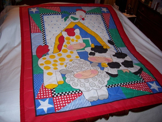 Baby Barnyard Animals Reversible Cotton Quilt-NEW