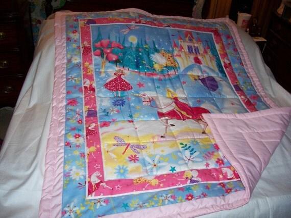 Handmade Baby Unicorn, Princess, Fairies Baby/Toddler Quilt-NEWLY MADE 2012