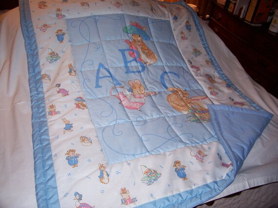 Handmade Baby Beatrix Potter Characters and A B C Cotton Baby Quilt-NEWLY MADE 2012