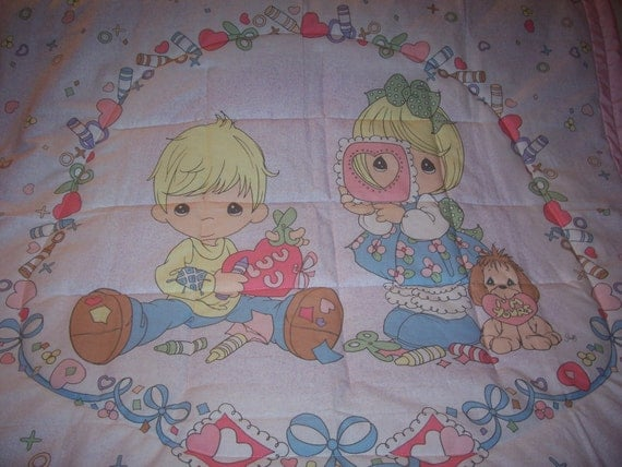Handmade Baby Precious Moments Rare Valentine Kids Baby/Toddler Quilt-NEW