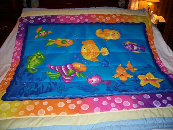 Handmade Baby Colorful Fish Baby/Toddler Quilt-Newly Made 2015