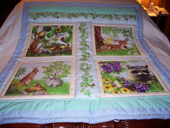 Handmade Baby Nature At It's Best Cotton Baby/Toddler Quilt-NEWLY MADE 2014