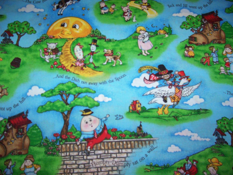 Baby mary engelbreit nursery rhyme cotton fabric bty plus 20 for Nursery cotton fabric