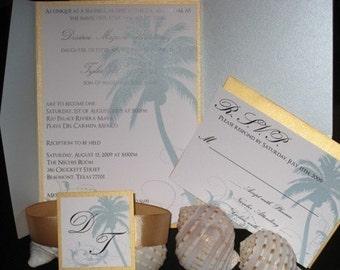 Beach Wedding Invitation DEPOSIT: Palm Tree Pocket Design
