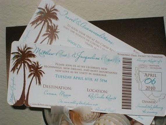 Boarding Pass Invitation DEPOSIT: Modern Palm Tree Design