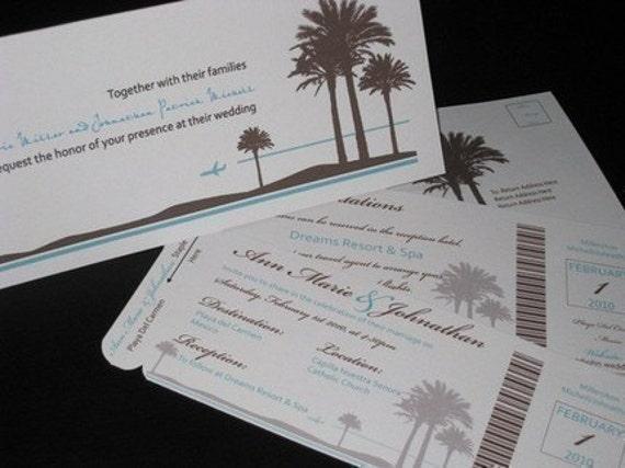 Boarding Pass Invitation DEPOSIT: Classic Beach Design