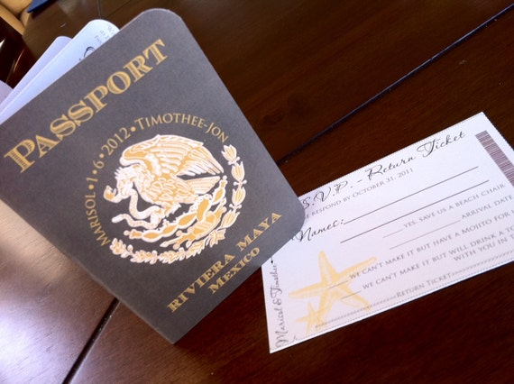 mexico passport wedding invitation  passport invitation